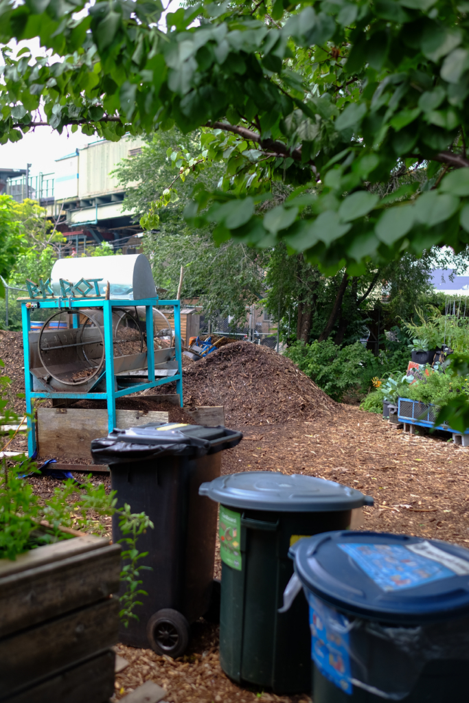 Trash bins in front of Know Waste Lands where BK Rot accepts compost drop-offs on Sundays from 12-3 p.m.